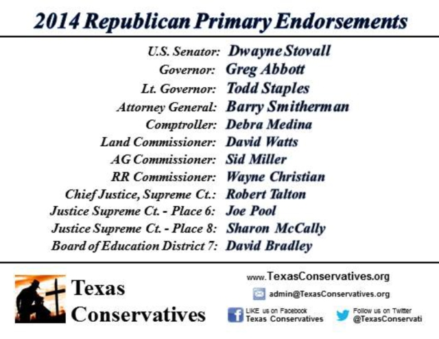Texas Conservatives - 2014 Republican Primary Endorsements